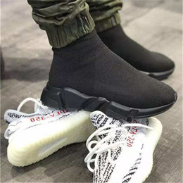 Wholesale Paris Box - HOTSALE WITH BOX 2018 New Luxury Paris Speed Trainer Stretch Knit Sock Women Men Mens Designer Running Brand Shoes Sneakers