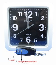 Wholesale wall clock dvr cameras - Wall Clock Camera 8GB Build Inside Remote Control Clock Camcorder DVR Mini Audio Video Recorder HD Home Surveillance Camera Security Cam