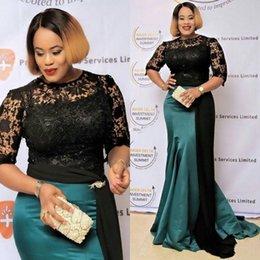 Modestas mujeres vestidos formales online-Mujeres modestas vestidos de noche formales con un vestido de fiesta de sirena Sash negro Alfombra roja Desfile de celebridades Vestido formal de la madre 2018