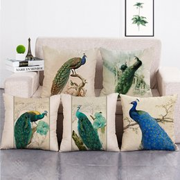 Almohadas de pavo real online-Regalo creativo Peacock Throw Pillow Covers fundas de almohada decorativas impresas fundas de cojines casa sofá coche Cafe decoración 18x18 pulgadas