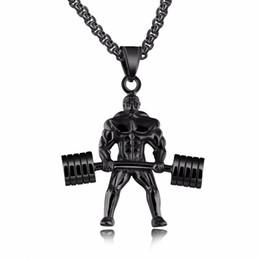 Fitness-charme online-Modeschmuck Neues design Starke Mann Edelstahl Anhänger Halskette Personalisierte Sport Hantel Gewichtheben Charme Gym Halskette