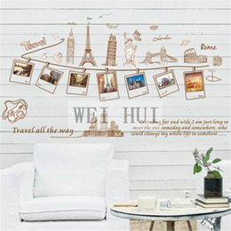 Wholesale World Travel Stickers - World Map Travel Famous Buildings Vinyl Mural Decal Wall Sticker stickers for Glass Window Living Room bedroom Home