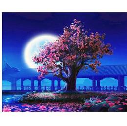 2019 pittura a fiore incorniciata GATYZTORY No Frame Peach Blossom Pittura DIY By Numbers Paesaggio Vintage Pittura Murale Pittura Acrilica Su Tela Per Soggiorno pittura a fiore incorniciata economici