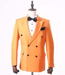New Orange Men Jacket Suit per Smoking dello sposo doppio petto Blazer  Abiti da sposa Tailored Man s Party Suit Blazer c6b451343a2