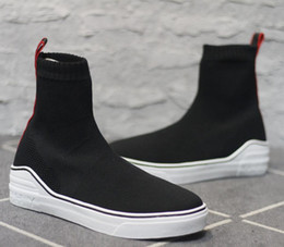 Wholesale ribbon flats - New Black and Red Ribbon Logo Letter High Sock Sneakers Shoes Men's Shoes Size: 40-45
