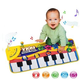 Wholesale touches piano - Touch Type Electronic Piano Carpet Creative Multi Function Children Play Mat Music Toys Gift New 18tz C R