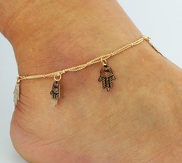 Wholesale Figuring Out - 2018 selling Bohemian beach Hollow out dragonfly hand of Fatima shell anklets M beads rin Tassel hanging women bead Foot ornaments 18
