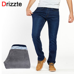 Wholesale Fleece Lined Jeans - Drizzte Winter Thermal Warm Flannel Lined Stretch Jeans Mens Comfortable Fleece Pants Trousers