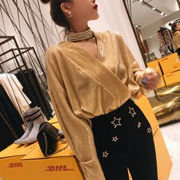 Wholesale shinny top - 2018 New design fashion women's sexy metal color gold silver shinny bling v-neck loose batwing sleeve blouse shirt tops