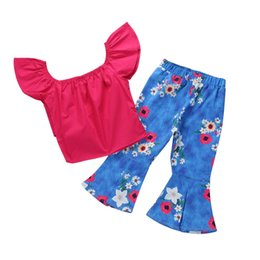 8cbc0168a5b Baby Girl Off Shoulder Tube Top Shirt+Ruffle Floral Pants Casual Clothing  2PCS Baby Autumn Clothing set