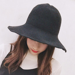 5295094b3ff6c wool bucket hat Coupons - Winter Hat for Women Knitted Wool Warm Wide Brim  Autumn Bucket