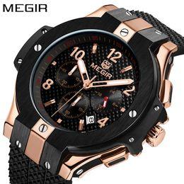 Fashion Megir Mens Watches Top  Rose gold Watch Men  Army Chronograph Quartz Sport Wristwatch Man Clock 2018 от