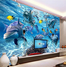 2019 fond d'image pour enfants Photo personnalisée fond d'écran 3D monde sous-marin stéréo de poissons marins vivant chambre d'enfant fond d'image pour enfants pas cher