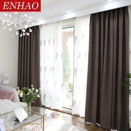 Bedroom Blackout Blinds UK   ENHAO Modern Blackout Curtains For Living Room  Bedroom Simplicity Solid Cloth