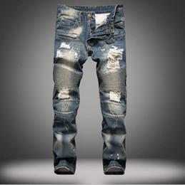 Wholesale Bleach 42 - New Men Trousers -Big Size 42 New mens Biker Jeans Motorcycle Slim Fit Washed Blue Moto Denim skinny Elastic Pants Joggers For Men jeans