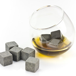 Wholesale Stone Ice Cube Rocks - High Quality Natural Stones 9pcs set Whiskey Stones Cooler Rock Soapstone Ice Cube With Velvet Storage Pouch