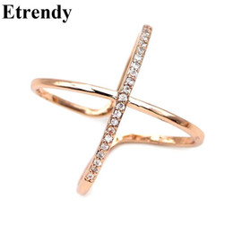 Wholesale Cute Cross Ring - whole saleOpen Design X Criss Cross Ring Jewelry Rhinestone Adjustable Rings For Women Bijoux Classic Cute Gift