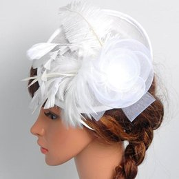 Wholesale Vintage Bridal Hats - Fashion Women Fascinator Cambric Flower Feather Vintage Ladies Cocktail Hat Wedding Party Bridal Hair Accessories 10 color