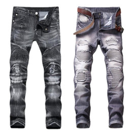 Wholesale Light Purple Tights - 2018 high quality brand jeans Men's fashion to pop tight trousers The jogger cargo pants Senior designer hip hop jeans