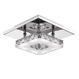 Ampoule cristal en Ligne-Lustre en cristal moderne de lustres de la lumière LED de plafond 12W LED de montage de lampe en cristal montée par surface carrée pour le couloir de couloir