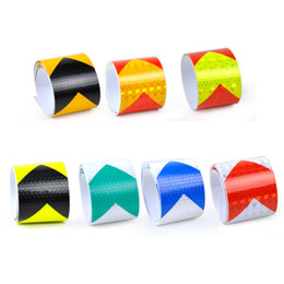 Wholesale 3m reflective motorcycle stickers - 5CM*3M Reflective Sticker Direction Arrow Safety Warning Tape Multi Colors For Car Truck Bus Motorcycle Stripe Lbel Lattice Insotck