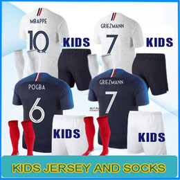 Wholesale National Teams - france kids kit pogba Jersey 2018 World Cup DEMBELE MBAPPE GRIEZMANN KANTE national team football shirts maillot equipe de france