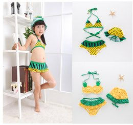 Wholesale Hot Bikini Models - 2018 Fashion Pineapple Models Watermelon Style Swimwear Hot Spring Bathing Suit Cute Soft Girls Split Swimsuit Three-piece