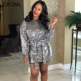 Shiny Silver Sequins Sexy Club Party Dress Women Scoop Neck Full Sleeve  Bandage Mini Dress Autumn Winter Slim Fit Sheath Dresses 2753423fce80