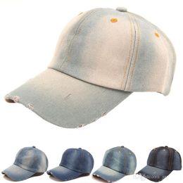 Wholesale Ladies Sun Hats Travel - hot sale 2018 summer Vintage women cowboy baseball cap ladies snapback hats denim jeans leisure travel caps Sun hat 5 colors TO464