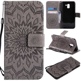 flower leather flip phone case Coupons - For Galaxy J8 J4 J6 Europe J3 J7 USA 2018 A6 Plus J7 DUO J2 PRO Luxury Imprint Sunflower Wallet Leather Cases Flower Phone Flip Cover+Strap