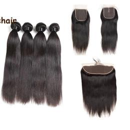 коричневые камбоджийские волосы переплетаются Скидка Оптовые бразильские человеческие волосы прямые 4 пучка с закрытием девственные волосы ткет с 13X4 фронтальной уха до уха полное закрытие кружева