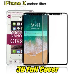 Wholesale Curve Covers - For iPhone 8 Plus iPhone X 3D Full Cover Color Tempered Glass Soft Edge Screen Protector for iPhone8 7 Plus with Box Package