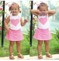 0ef687a8fc7 Girls Heart Tank Tops+Skrits Outfits Summer 2018 Kids Boutique Clothing  Euro America Fashion Little Girls Ruffle Sleeves Tops Skirts Set
