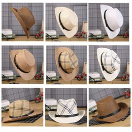 wholesale leather cowboy belts Coupons - 7 Colors Men Summer Solid Straw Hat with leather Belt Designer Cowboy Panama Hat Cap Summer Sun Beach Caps Fisherman Jazz