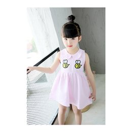 Wholesale Dresses For Girls Korean - Summer New Korean Chao Fan embroidery bee princess skirt fashion queen dress for cute girls V 001