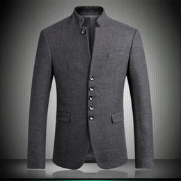 Wholesale Chinese Fashion Tunic - Men Blazers 2018 New Arrival Woolen Stand Collar Chinese Tunic Suits Fashion Gentleman Slim Fit Party Blazer Gray M-3XL 4XL 6622