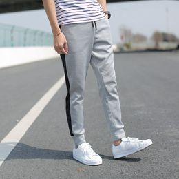 Wholesale pocket network - 2018 Men's Korean Version Of Slim Pants Feet Casual Pants Color Fight Pants sweatpants jogger pant skinny trousers Network Explosions