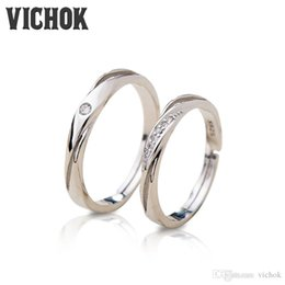 Wholesale Unique Settings Engagement Rings - 925 Sterling Silver Lovers Ring Set Classic Unique For Women Men Resizable Fashion Jewelry Statement Rings Fine Jewelry VICHOK