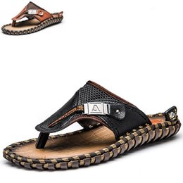 9b3d99a96e7d4 Chinese Brand Men  039 s Flip Flops Genuine Leather Luxury Slippers Beach  Casual Sandals. Brand Men s ...