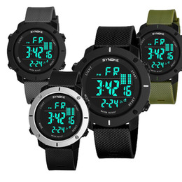 Wholesale multi function camera - 2018 SYNOKE LED Digital Sport Watch Kids Outdoor Waterproof Electronic Watches Multi-Function 50M Double Action 9658 Watch