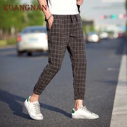 pantaloni lunghi alla caviglia per gli uomini Sconti KUANGNAN Casual Plaid Pants Uomo Drawstring Streetwear Caviglia Harem Pants Uomo Joggers 5XL Abbigliamento 2018 Autunno