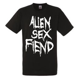 Alien Sex Fiend Logotipo Preto Novo T-shirt Banda de Rock Camisa Heavy Metal Tee 2018 de Alta qualidade Casual manga Curta Marca Homens camiseta de Fornecedores de sexo com heavy metal