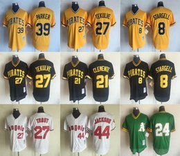 Wholesale Parker Top - GOOD NEWS!!! MLB Vintage version jersey TEKULVE STARGELL CLEMENTE PARKER JACKSON TEOUT top quality MLB Vintage version