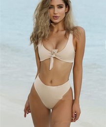 Wholesale surf suit woman - 2018 Sexy Brazilian Bikinis Solid Biquinis Padded Tied Bowknot High Waist Bikini Set Women Beach Surfing Bathing Suit Maillot De Bain