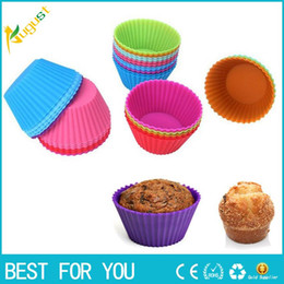 Wholesale Cookie Cup Mold - New hot 12pcs lot Silicone Cake Muffin Chocolate Cupcake Liner Baking Cup Cookie Mold 8 Colors