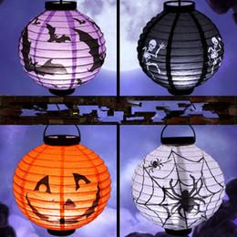 2019 chauves-souris de papier d'halloween Lanternes de citrouille halloween lanterne LED Lanternes de papier Bat Spider Crâne Fantôme Visage Hanging Halloween Articles de fête promotion chauves-souris de papier d'halloween