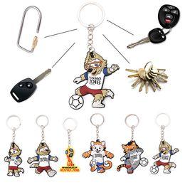 Wholesale Football Rings - Russia World Cup Mascot Keychain Football Souvenir Zabivaka Soccer Zabivaka Wolf Figure Key Ring cartoon FFA245 6styles 600pcs