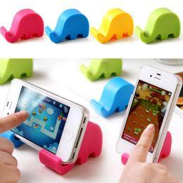Wholesale Cute Desks - Mini Phone Holder For iPhone X 8 6 7 Samsung S8 Cute Elephant Shape Universal ABS Desk Phone Holder Stand Support Bracket