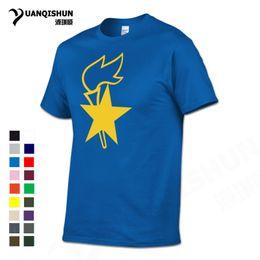 Wholesale Team T Shirts Wholesale - YUANQISHU Boutique T-shirt Pentagram Flame Print T Shirt CCCP USSR Pioneer Team 100% Cotton Tshirt Top Quality O Neck Men Tees