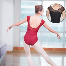 b19611879f Low Back Gymnastics Leotard Bodysuit Stretch Adult Leotard Mesh Women  Ballet Dance Wear Clothes